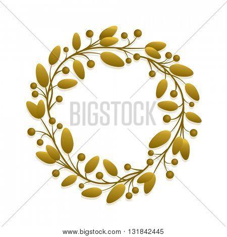 Vector simple round gold floral frame design.