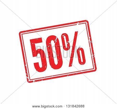 50% OFF red rubber stamp on white. Print impress overprint.