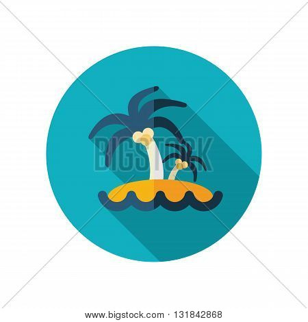 Island with palm trees vector flat icon. Beach. Summer. Summertime. Vacation eps 10