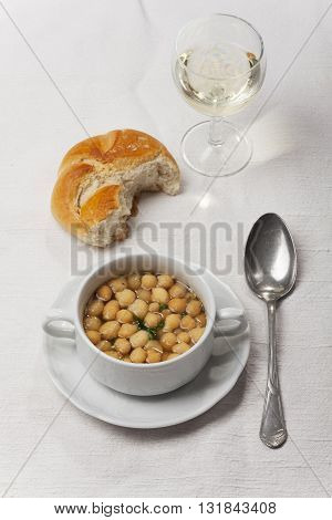 fresh broth with soup pearls and wine