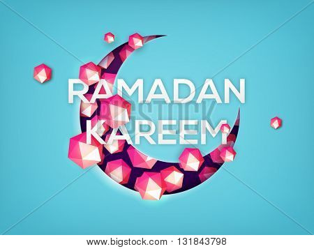 Creative Crescent Moon made by glossy geometric elements on sky blue background for Islamic Holy Month of Prayers, Ramadan Kareem celebration.