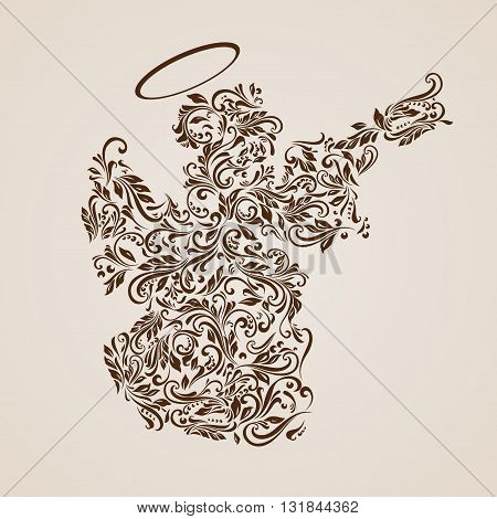 Floral pattern of vines in the shape of a Christmas angel on a beige background