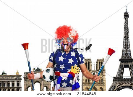Football fan in a coloured wig and France