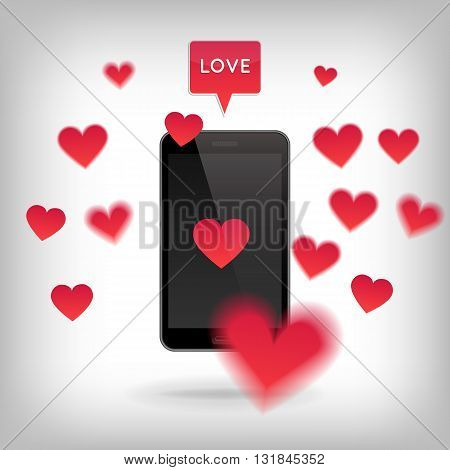 Realistic phone with hearts around and speach bubble with Love. Valentine and Love concept. Realistic vector illustration