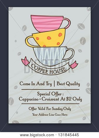 Best Quality Coffee Banner with illustration of colorful cups on cocoa beans decorated grey background.