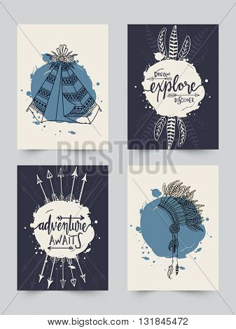 Creative Boho style cards set with ethnic elements like Wigwam, Textured Feathers, Arrows and War Bonnet or Headdress.