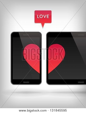 Love on Gadget. Vector illustration of smart phone and tablet. Happy Valentines Day on Mobile and Tablet. Phone and tablet screen with Hearts.