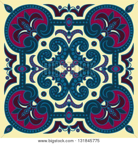 Hand drawing tile pattern in dark blue purple and yellow colors. Vector illustration. The best for your design textiles posters