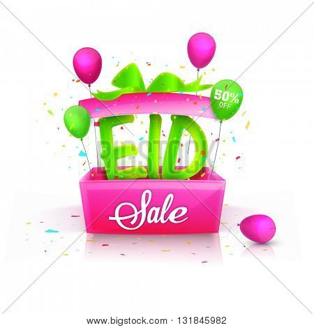 Elegant Sale Flyer, Sale Banner, Sale Poster, 50% Discount Offer, Glowing green text Eid coming out from a pink box, Vector Sale Illustration.