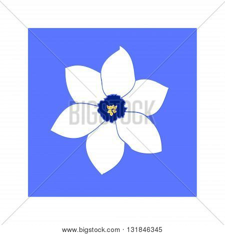 The icon with the flower in the center a contour on a colored background. Vector illustration