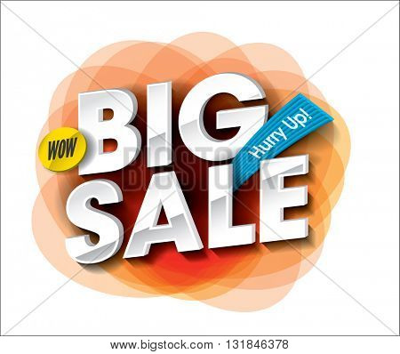 Big Sale concept with colorful round abstract label banner. sale layout design. Vector illustration