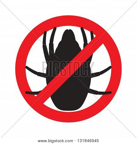 The sign forbidding house dust mites. Vector illustration.