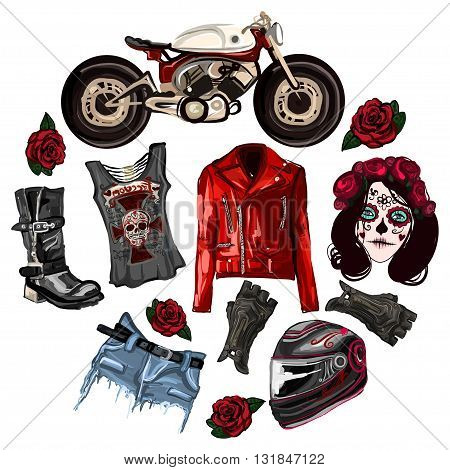 Motorcycle fashion Biker digital watercolor hand drawn images