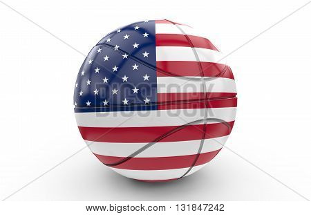 A 3D rendering of a basket ball with USA flag