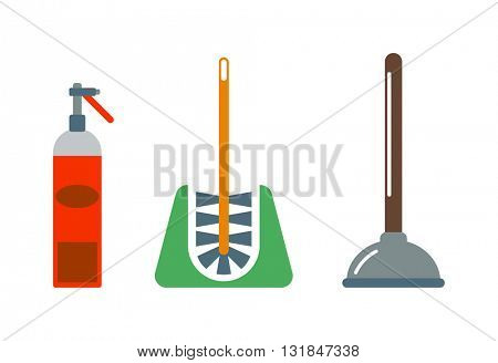 Toilet plunger and brush handle bathroom vector illustration.