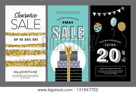 Set of sale banners design with gold glitter elements