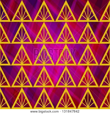 Seamless Abstract Vector Background with Yellow Triangles. Bright Geometric Backdrop. Pink Color Illustration. Can Used for Wrapping, Tamplates, Web, Ivitation, Textile, ets