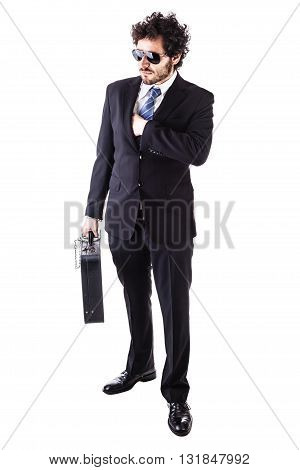 Cool Businessman With Chained Leather Suitcase
