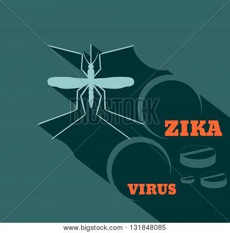 Virus diseases transmitter. Mosquito silhouette. Zika virus text and pills. Flat style vector illustration