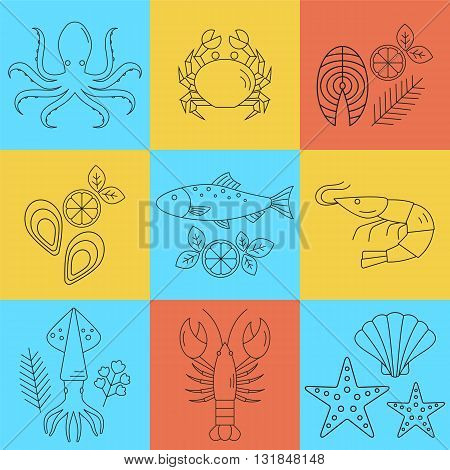 Seafood vector flat line icons set. Vector illustrations of lobster, crab, salmon, fish, squid, oyster, shrimp, octopus, eel isolated. Seafood menu background. Fresh seafood restaurant illustration.