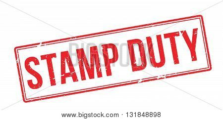 Stamp Duty Red Rubber Stamp On White