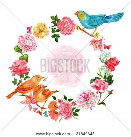 Vintage wreath with hand drawn watercolor flowers (roses camellias dahlia fuchsias and tulip) with birds and butterflies with faded ranunculus in centre (can be easily cut out) with copyspace