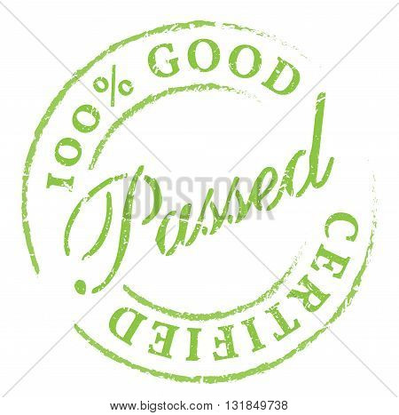 Passed. Green Rubber Stamp On White