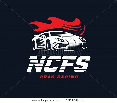 Sport car logo illustration. Drag racing emblem design