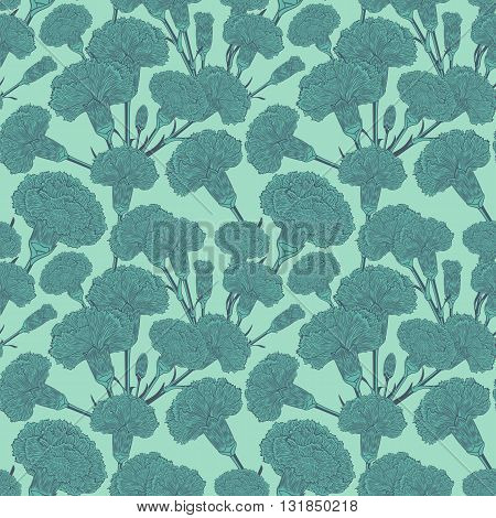 Seamless pattern of cloves. Graphic pictures of bouquets carnations in the heavenly fresh colors.  Randomly scattered flowers
