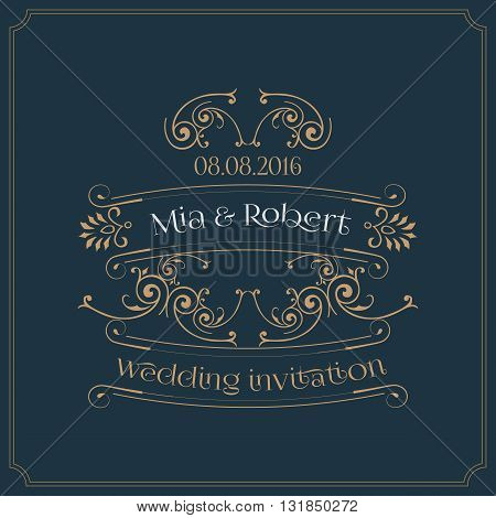 wedding invitation card with floral vintage ornaments