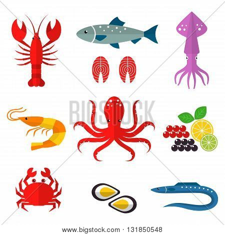 Seafood vector flat icons set. Vector illustrations of lobster, crab, salmon, fish, squid, oyster, shrimp, octopus, eel. Seafood menu background. Fresh seafood restaurant illustration.