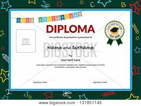 Colorful diploma certificate for kids on green chalk board with kids elements background graduation caps ribbon seal and photo space
