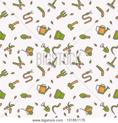 Seamless pattern with tools for the garden. Signs and symbols of gardening. Garden tools in the background.