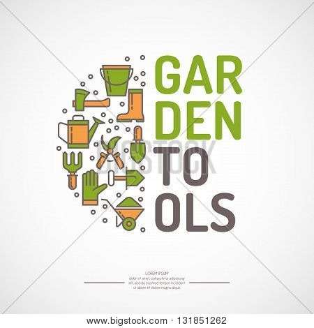 Poster with tools for the garden. Signs and symbols of gardening. Garden tools in the background.