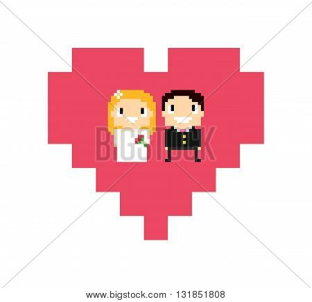 8-bit bride and groom in wedding dress smiling and posing. Pixel art characters in pixel heart in white background