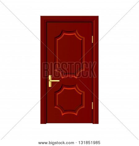 Brown wooden door isolated on white photo-realistic vector illustration