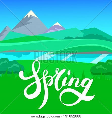 cartoon landscape with calligraphy brush lettering, spring, vector unending background landscape with herbs and sky. Vector landscape with calligraphy brush lettering. Flat spring poster