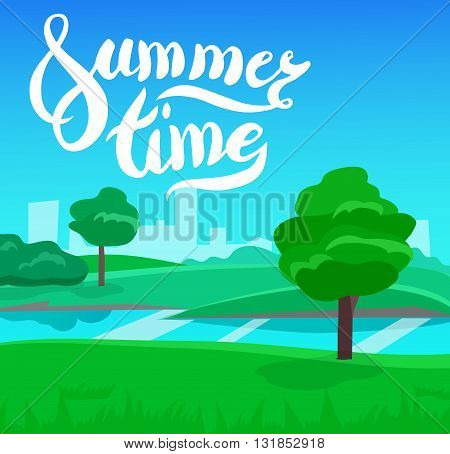 cartoon landscape with calligraphy brush lettering, summer time, vector unending background landscape with herbs and sky. Vector landscape with calligraphy brush lettering. Flat summer poster