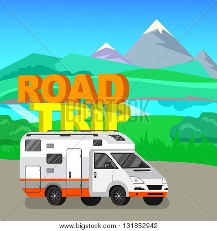 Travel van flat  icon with long shadows. Travel car and motorhome. Vector detailed mobile home. Road trip poster. Travel car vector and summer vector background landscape with herbs and sky