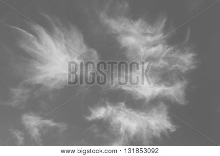 Abstract design of white powder cloud against dark background. Black and white