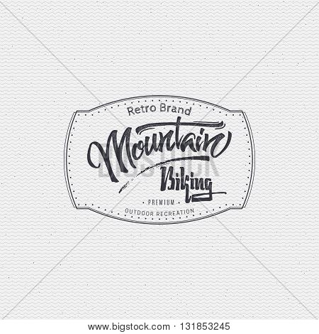 Mountain biking sign handmade differences, made using calligraphy and lettering using geometric elements ways and assembled in the badge using typographic rules