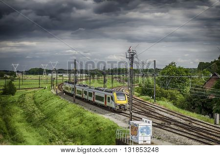 Antwerpen, Belgium. MAY 15, 2016,  passenger train following from Brussels to Antwerp Belgium