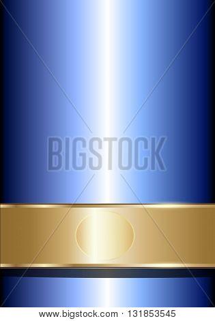 Elegant blue gold background, vector art illustration.
