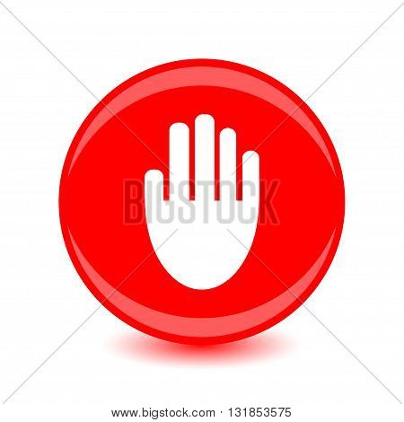 Round vector button with the image of the hand on a red background