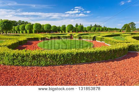 Traditional French Garden. Rundale Palace ,  Latvia