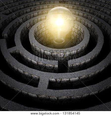 shining the light in the middle of the maze