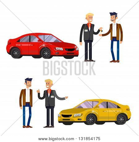 design concept of choice car and buying a car. Vector car, car cool flat, car  illustration. Vector detailed character buyer and seller, cool flat  illustration isolated on white background.