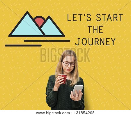 Woman Start Journey Travel Concept