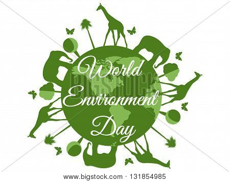 World Environment Day planet earth with animals environment day environment go green. Vector.
