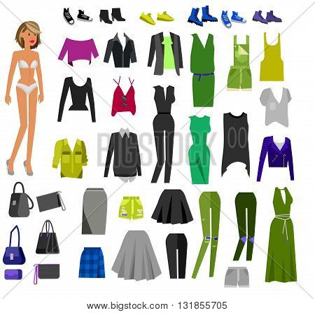 Woman Clothes. Paper doll with clothes, skirt and blouse, boots, glasses and jeans, sweater, shoes, bags. Clothes vector flat illustration set. Clothes and accessories